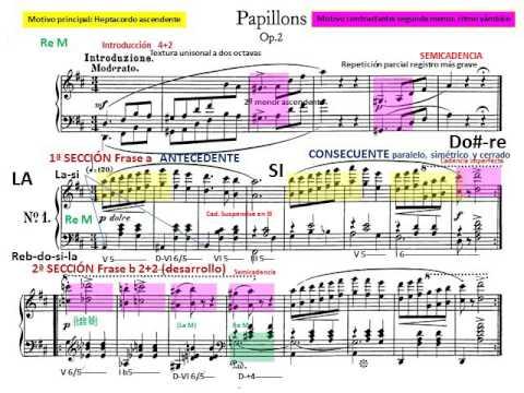 R. Schumann. Piano.  Papillons op 2. 1 y 2. Análisis Musical. Partitura. Audición.