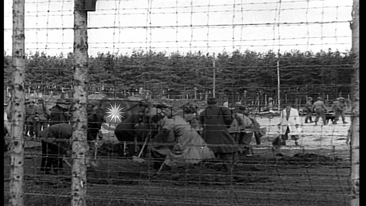 German civilians dig up dead Jewish prisoners at Stalag 4 Concentration Camp in L...HD Stock Footage
