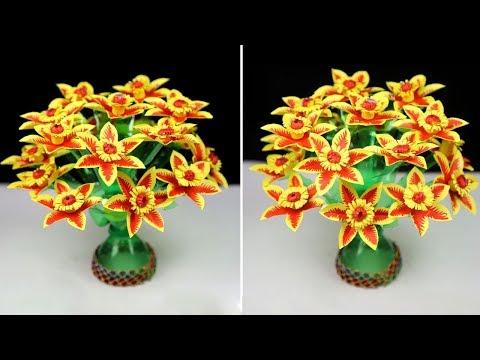 DIY Empty plastic bottle vase making vase craft | Paper flowers & plastic bottle recycling guldasta