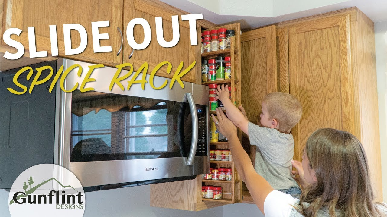 kitchen microwave cabinet with slide out spice organizer rack