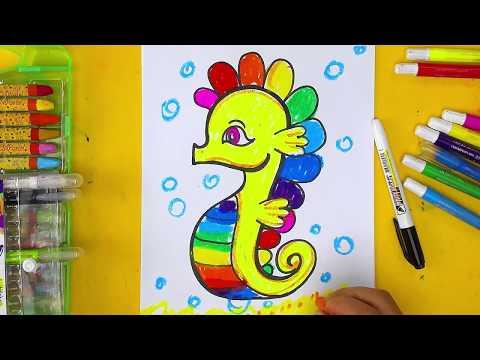 Как нарисовать морского конька - урок рисования для детей