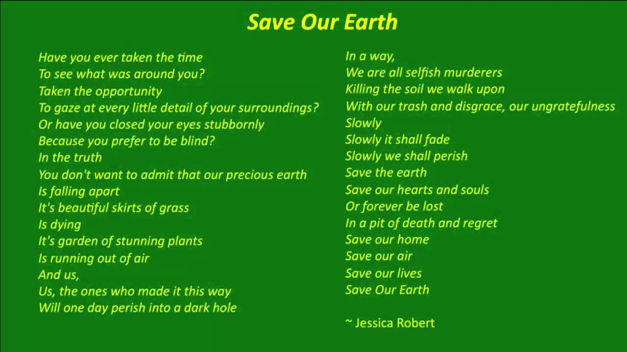 save the earth environmental awareness poem