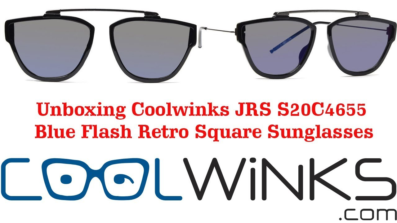 4c5dc2caa9b2 Unboxing Coolwinks JRS S20C4655 Blue Flash Retro Square Sunglasses for Men  and Women