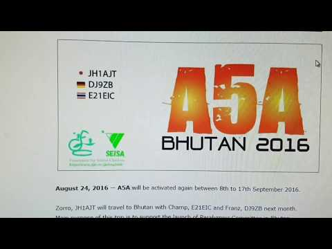 A5A, Bhutan ASIA, 18MHz, CW, Worked by HL2WA