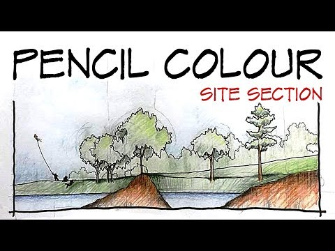 Pencil colour : site section sketch! - Architecture Daily Sketches