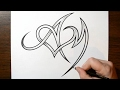 Drawing Letters A and M with a Heart Design