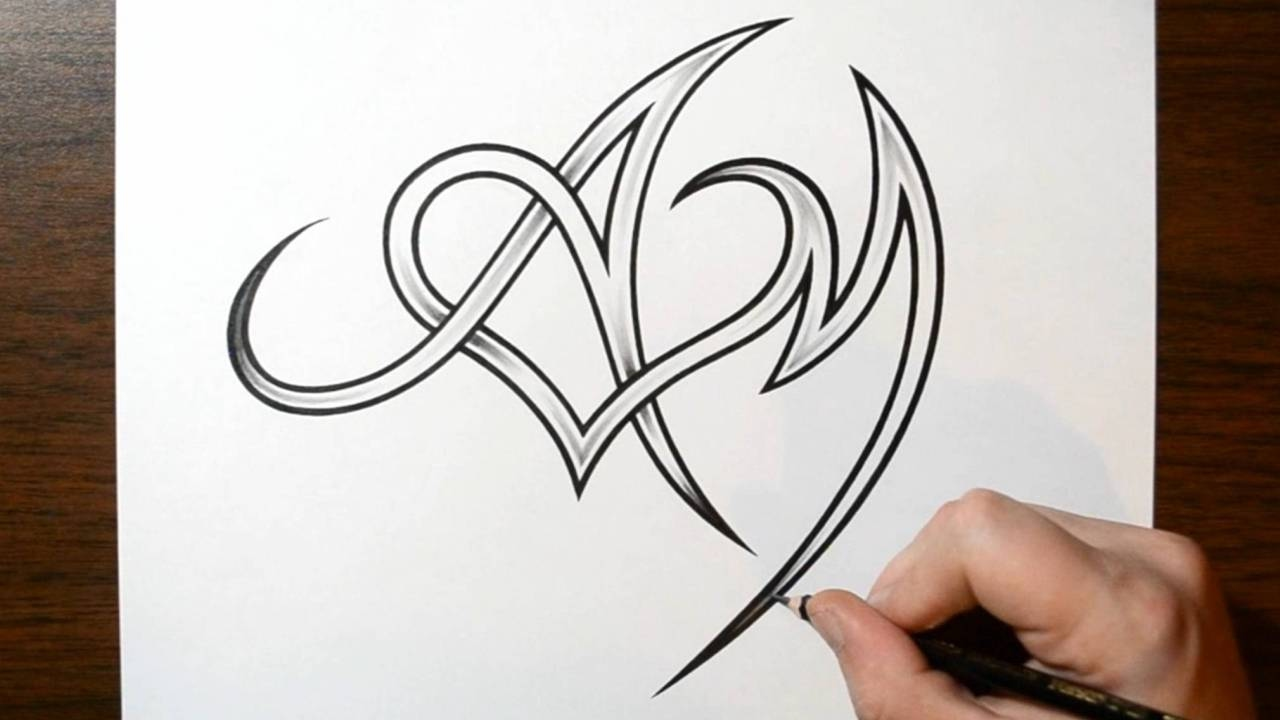 Letter N and Heart Combined  Tattoo Design Ideas for Initials