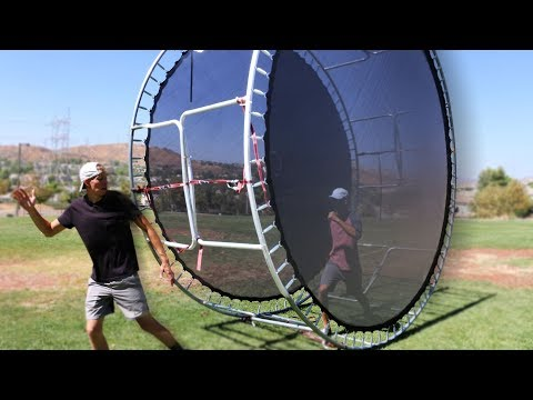 We Built a GIANT Human Hamster Wheel out of Trampolines!!