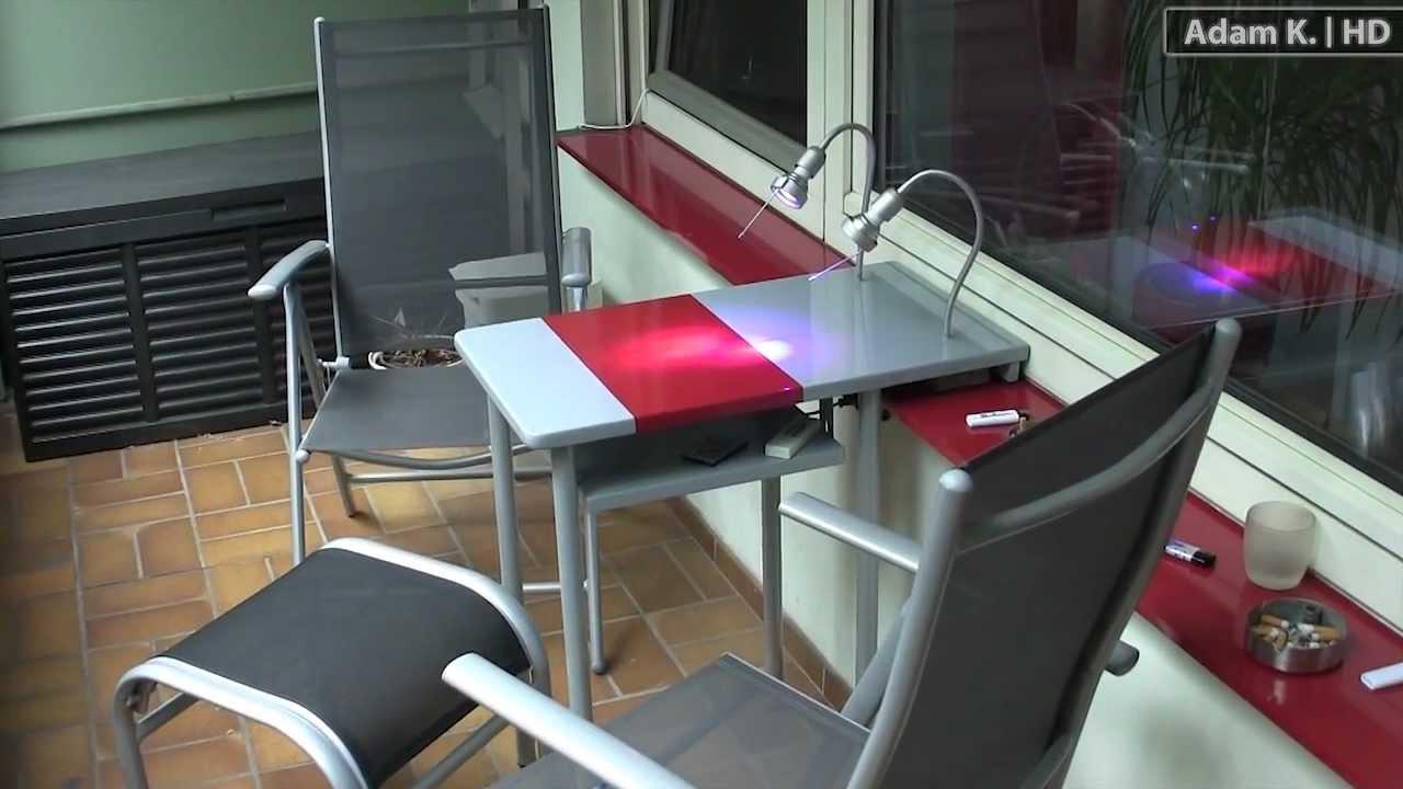 luxus balkontisch mit licht fach hochglanz lackiert. Black Bedroom Furniture Sets. Home Design Ideas