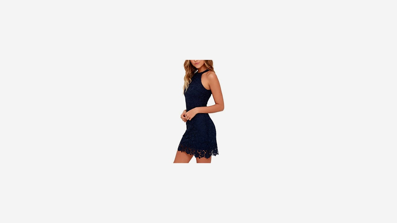 9076a28d018bfd Lamilus Women s Summer Backless Halter Neck Lace Mini Short Casual Shift  Dress