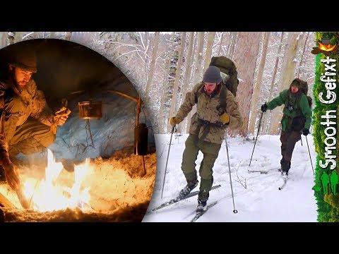Bushcraft Camping on a Winterday! - Ski's as conveyance, Tarp, Campfire & Kukri action