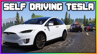 GTA 5 Roleplay - Self Driving Tesla Police Chase | RedlineRP