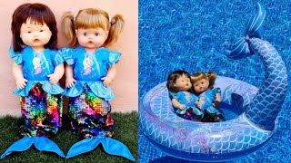 Ani y Ona estrenan VESTIDOS DE SIRENA y flotador de sirena🧜🏼♀️ Las muñecas más famosas de YOUTUBE