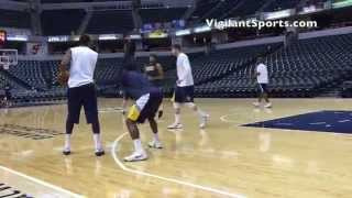 Paul George Playing 2 on 2 During Practice