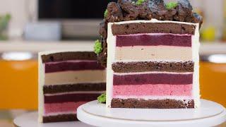 НЕЖНЫЙ ТОРТ С НЕВЕРОЯТНЫМ РАЗРЕЗОМ ВИШНЕВЫЙ СОБЛАЗН Рецепт торта Вкусный торт с муссовой начинкой