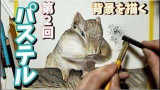 パステル初心者が背景に挑戦 色鉛筆でリスを描いてみた Draw a squirrel
