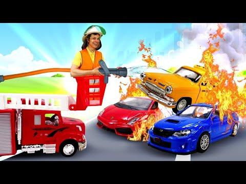 Игры для мальчиков –Черепашки Ниндзя и Фёдор тушат пожар! - Пожарные машины в Автомастерской.