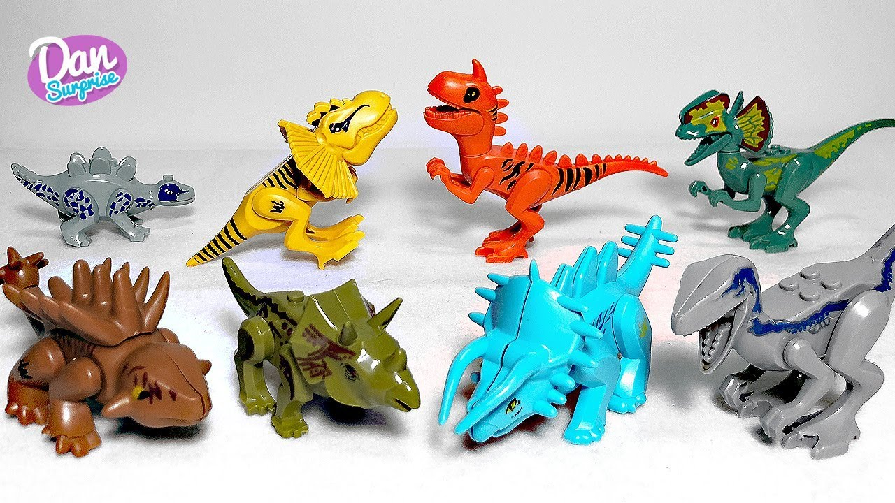8 New Lego Bootlegs Jurassic World Dinosaur Toys for kids - Carnotaurus  Stegoceratops Blue