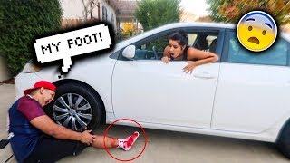 MY GIRLFRIEND RAN ME OVER PRANK!! **SHE CALLED 911**