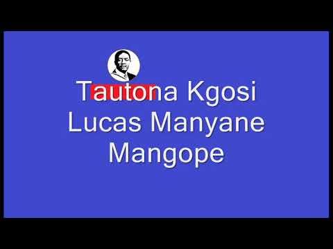 Kgosi Lucas Mangope Speech Excerpts