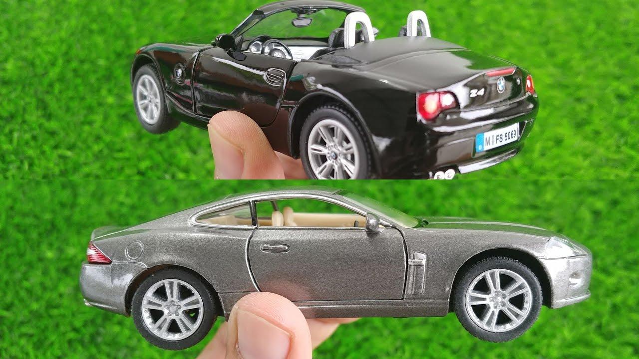 Unboxing 3 Amazing Kinsmart Diecast scale model cars | Mini jaguar XK, BMW Z4 and Nissan cars