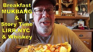 Breakfast MUKBANG & Story Time - LIRR Commute  - NYC and our dog Whiskey | JKMCraveTV