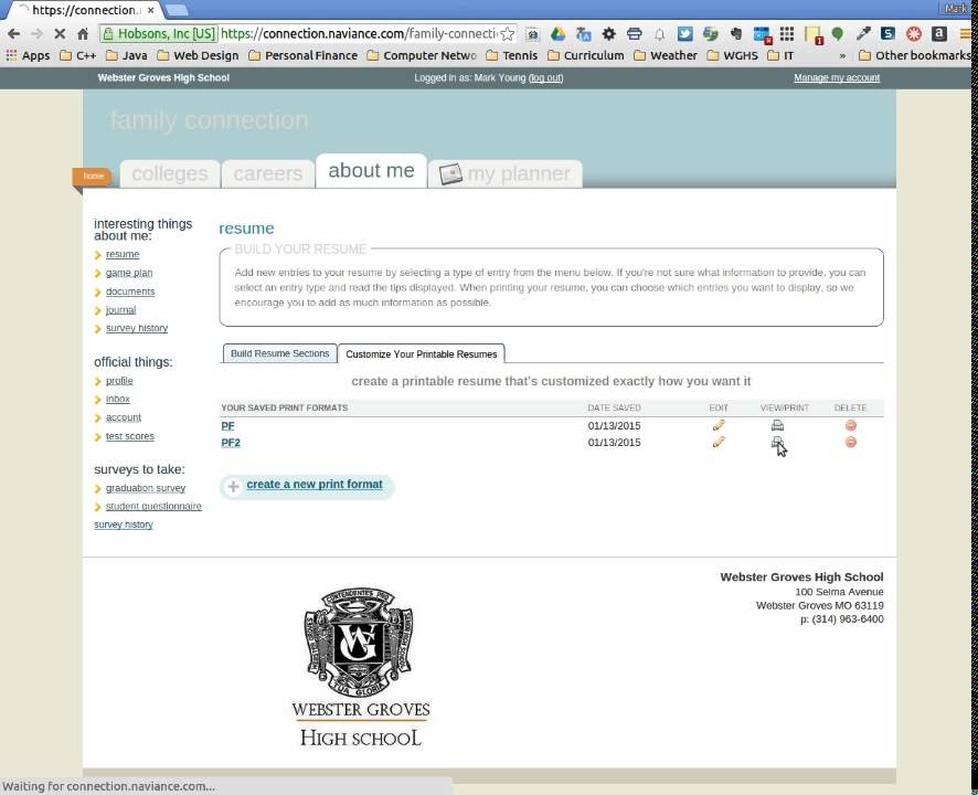 naviance resume pdf