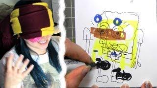 BLINDFOLD DRAWING CHALLENGE - Spongebob