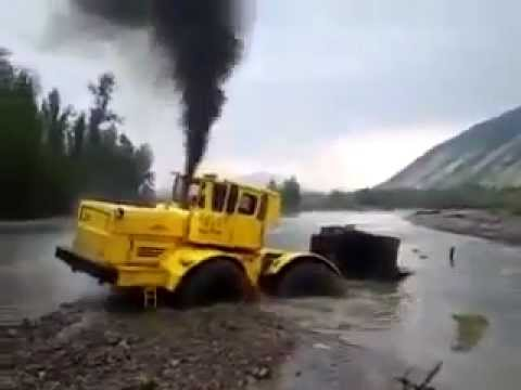 Russian Kirovets A 700 Tractor Stuck In River