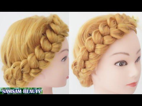ถักเปียสวยๆ แบบง่ายๆ - How to create a Crown Twist Braid   Updo Hairstyles SAMSAM BEAUTY