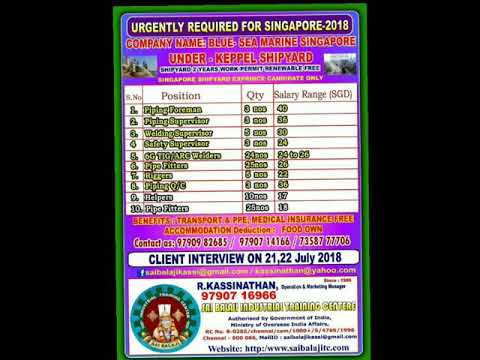 Urgently Required For Singapore Interviews starts From Tomorrow in Chennai  Apply Soon