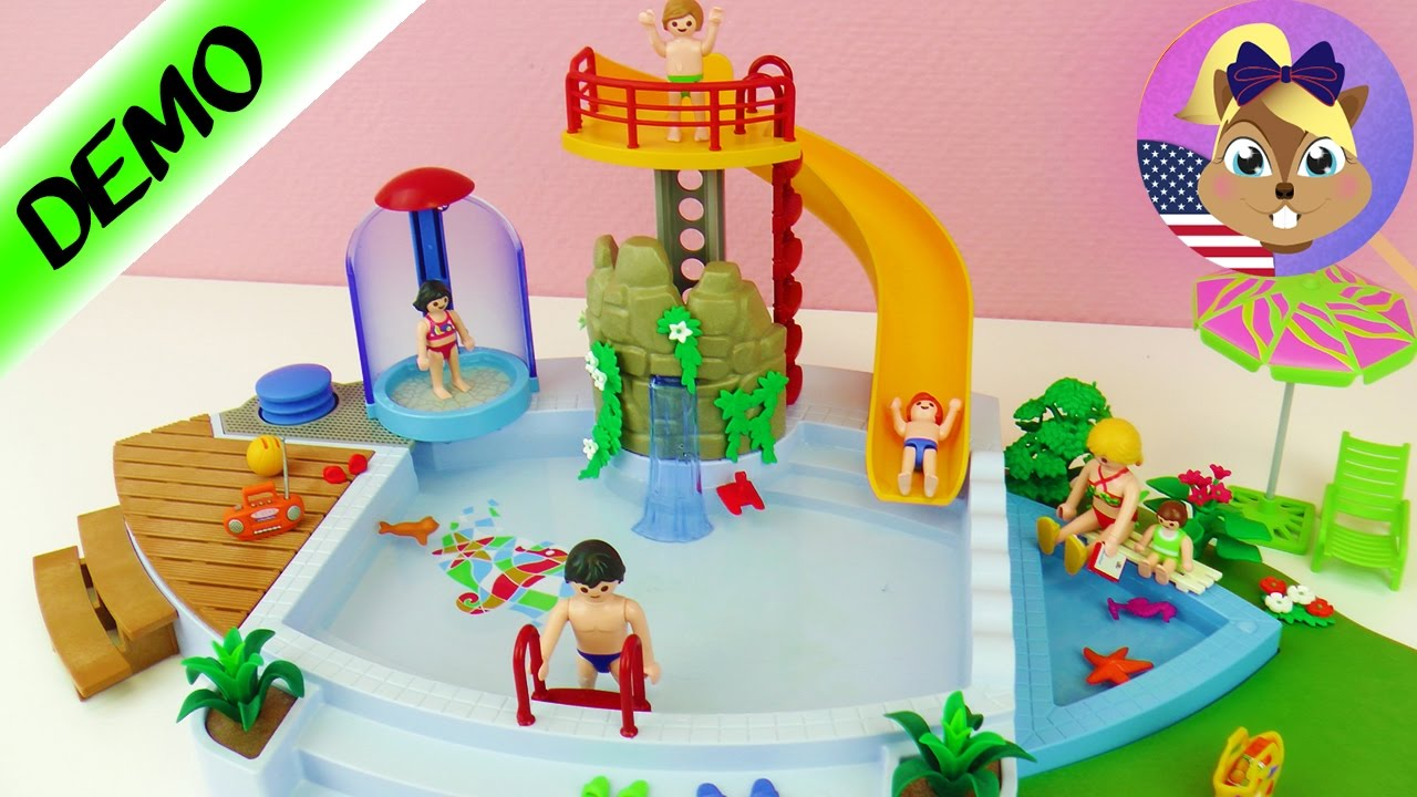 Playmobil OPEN AIR POOL WITH SLIDE English Demo   With Baby Pool! Julianu0027s  Next Adventure?