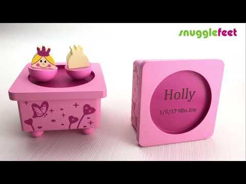 Personalised Princess Pink Wooden Music Box - Baby Christening Gift Birthday Ideas