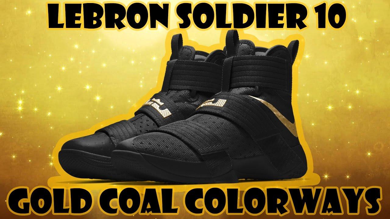 97aaf2b31733 NIKE LEBRON SOLDIER 10 GOLD COAL COLORWAYS CUSTOM NIKE ID - YouTube