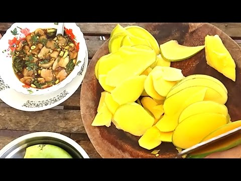 Eating Young Mango - Cambodian Afternoon Snacks - Food In Asia