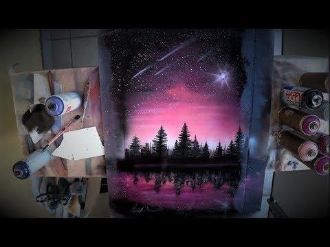Billions stars on the PINK sky -  SPRAY PAINT ART by Skech