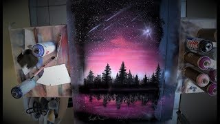 Billions stars on the PINK sky -  SPRAY PAINT ART by Skech