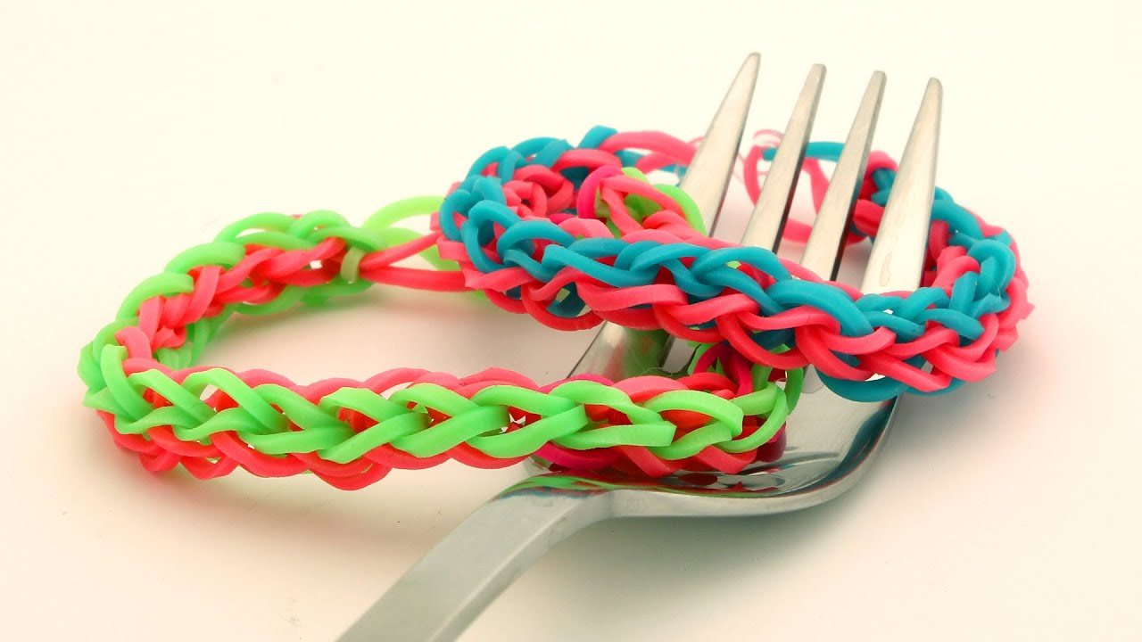 How To Make A 4 Braided Rainbow Loom Bracelet On Fork Easy Band Tutorial