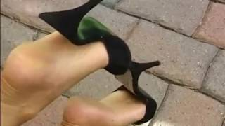 At feet shoeplay Candid mature store dipping