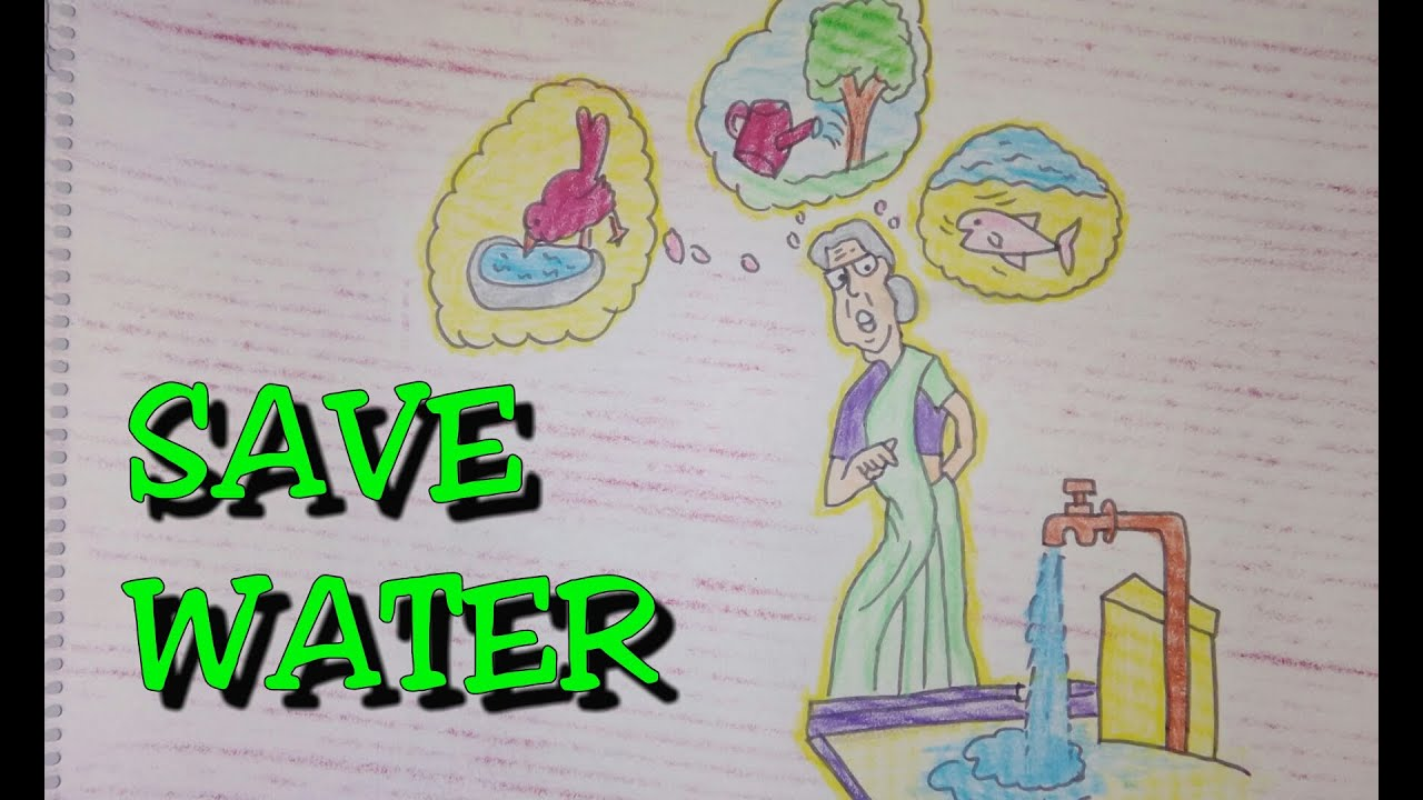 Drawing tutorial drawing on save water poster easy drawing creative ideas youtube