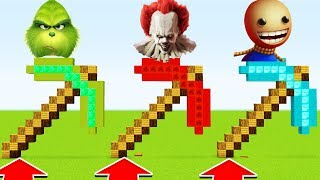 Minecraft ; DO NOT CHOOSE THE WRONG PICKAXE (Pennywise,Grinch,Kickthebuddy)(PS4/XboxOne/PE/MCPE)