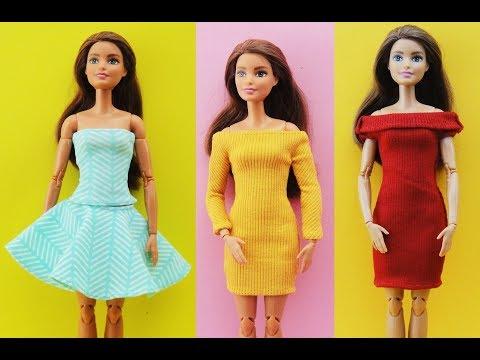 DIY Barbie Clothes Outfits Dress - Barbie Hacks - Dress Gown Skirt