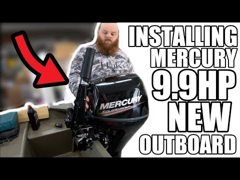 Installing NEW Mercury 9.9 hp Outboard Boat Four Stroke Motor (UNBOXING)