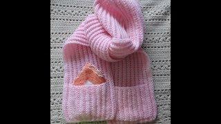 Детский шарф с карманами спицами