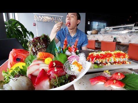 SUSHI MUKBANG + SASHIMI MUKBANG FEAST 2017 | Deluxe Assorted Sashimi Eating Show | Takami Sushi