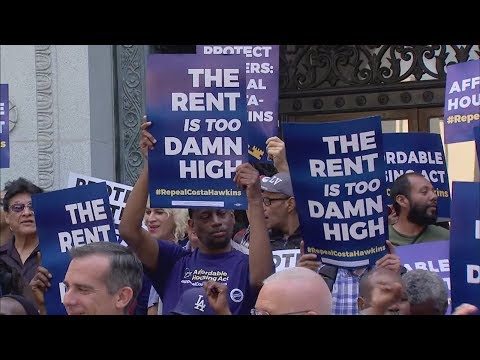 Los Angeles Mayor Eric Garcetti throws his support behind rent control initiative