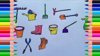 How To Draw Horticultural Tools Color | The Video Teaches Colors and Tools For Children
