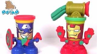 Пластилин Плей До на Русском Play Doh Капитан Америка и Железный Человек. Пластилин для Детей
