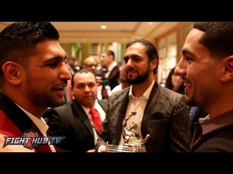 """Amir Khan & Danny Garcia embrace """"Khan is a better fighter than Keith Thurman"""""""