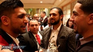 "Amir Khan & Danny Garcia embrace ""Khan is a better fighter than Keith Thurman"""